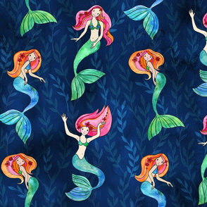 Merry Mermaids - faded seaweed leaf background