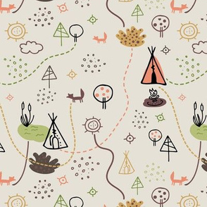 Tribal camping doodle on light background