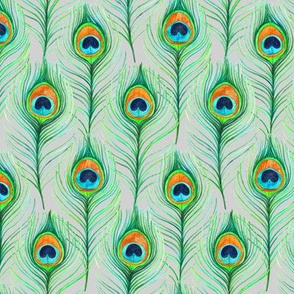 Emerald Watercolor Peacock Feathers on Grey