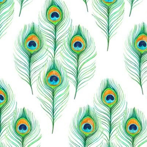 Watercolor Peacock Feather Diamond Lattice