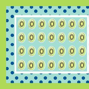 Kiwi polka dots 21 - mint ocean polka framed green white