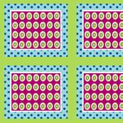 Kiwi polka dots 10 - ocean polka plumberry  framed green white