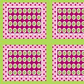 Kiwi polka dots 10 -pink plumberry  framed green white