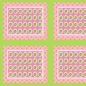 Kiwi polka dots 10 - berry orange polka framed green white