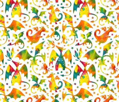 Fire dragons in orange and teal watercolors fabric by heleen_vd_thillart on Spoonflower - custom fabric