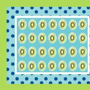 Kiwi polka dots 21 - ocean polka turquoise  framed green white
