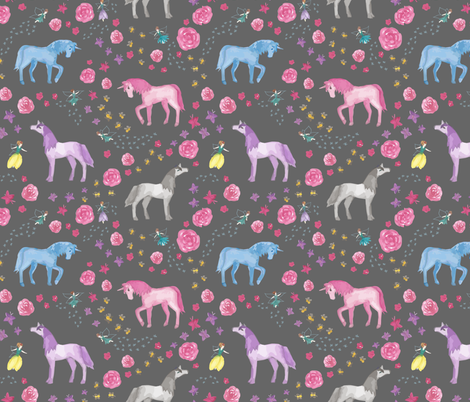 Unicorns and Fairies fabric by woolandtie on Spoonflower - custom fabric