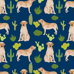 yellow lab fabric labrador retriever fabric design with cactus - navy