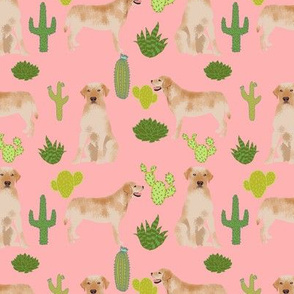 yellow lab fabric labrador retriever fabric design with cactus - pink