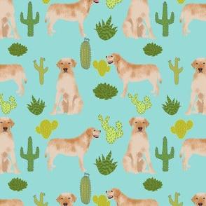 yellow lab fabric labrador retriever fabric design with cactus - light blue