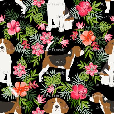 beagle fabric tropical summer hawaiian florals fabric - black