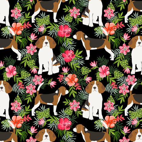 beagle fabric tropical summer hawaiian florals fabric - black fabric by petfriendly on Spoonflower - custom fabric