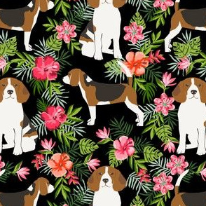 beagle fabric tropical summer hawaiian florals fabric - black