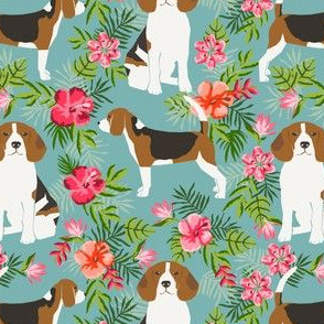 beagle fabric tropical summer hawaiian florals fabric - blue