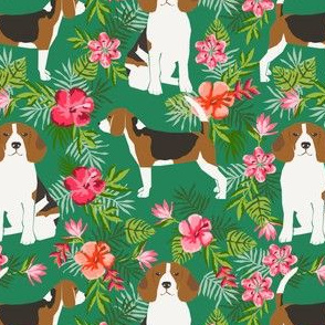 beagle fabric tropical summer hawaiian florals fabric - green