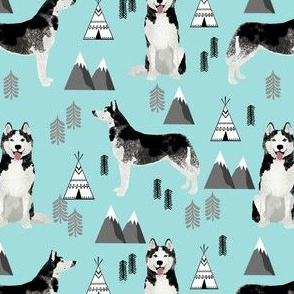 husky fabric siberian husky dog mountains teepee forest fabric - light blue