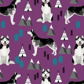husky fabric siberian husky dog mountains teepee forest fabric - purple