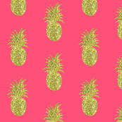 Gold Glitter Pineapple on Pink