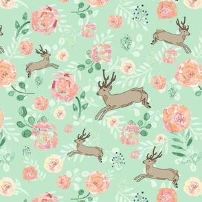 Deer Prancing through Watercolor Flowers
