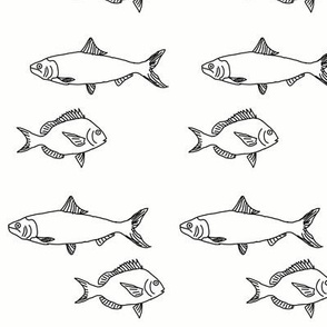 Plenty of Fish in the Sea Outlines in Black and White