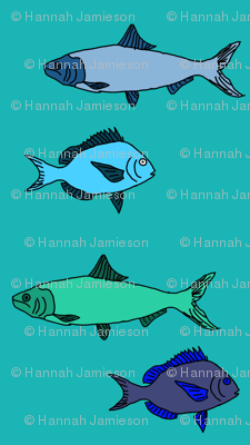 Plenty of fish in the sea in blue and green fabric for Go to plenty of fish com
