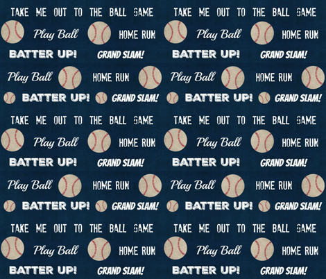 vintage navy baseball and text  LARGE 10 fabric by drapestudio on Spoonflower - custom fabric