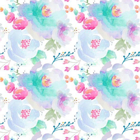 Indy Bloom Design Floral blues A fabric by indybloomdesign on Spoonflower - custom fabric
