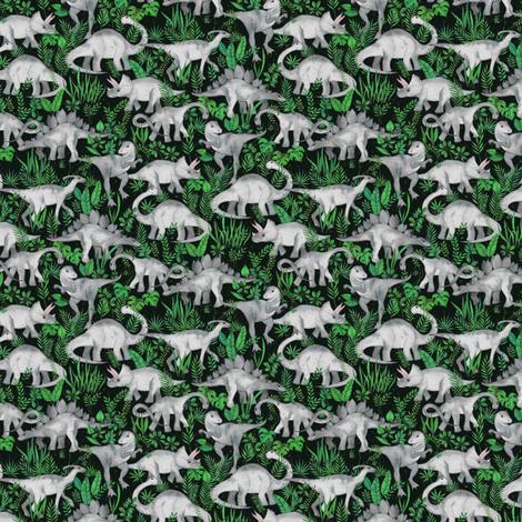 Extra Tiny Dinosaur Jungle green fabric by micklyn on Spoonflower - custom fabric