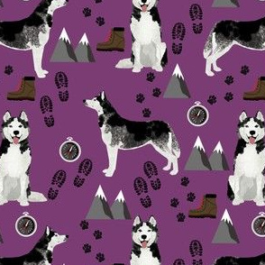 husky fabric siberian husky dog mountains hiking compass paw prints fabric - purple