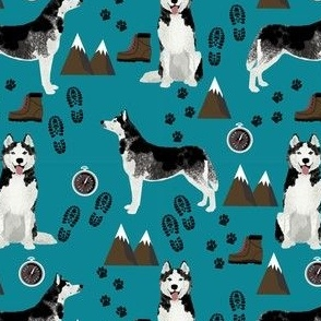 husky fabric siberian husky dog mountains hiking compass paw prints fabric - teal