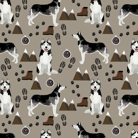 husky fabric siberian husky dog mountains hiking compass paw prints fabric - brown fabric by petfriendly on Spoonflower - custom fabric
