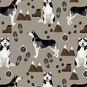 husky fabric siberian husky dog mountains hiking compass paw prints fabric - brown