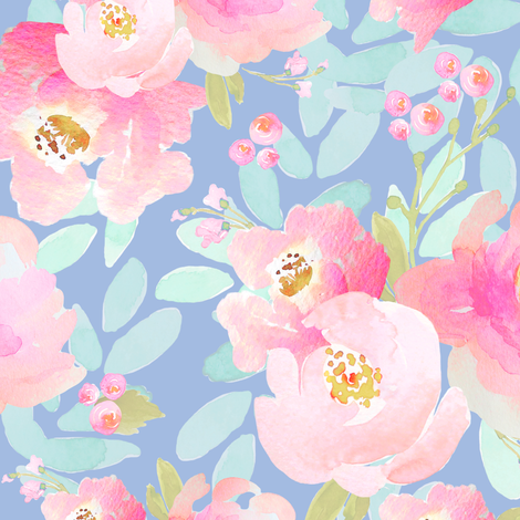 Plush Pink Florals Lavender C fabric by indybloomdesign on Spoonflower - custom fabric