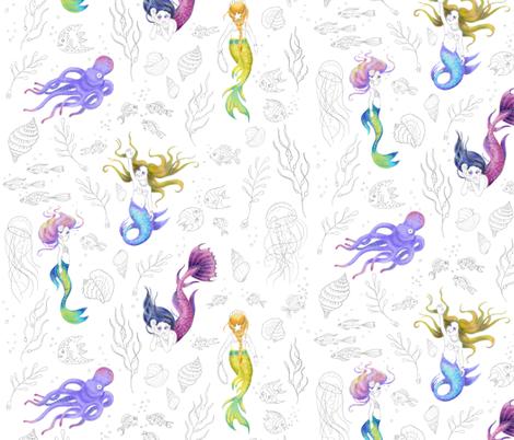 Mermaids Pattern fabric by nellik on Spoonflower - custom fabric
