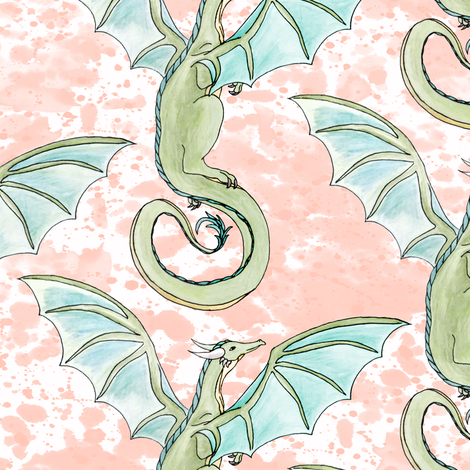 Watercolor Dragons  fabric by pond_ripple on Spoonflower - custom fabric