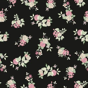 Ditsy Rose - Black