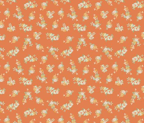 Ditsy Rose - Orange fabric by meganpalmer on Spoonflower - custom fabric