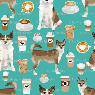norwegian lundehund coffee fabric dogs and coffees dog fabric - turquoise