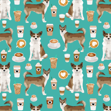 norwegian lundehund coffee fabric dogs and coffees dog fabric - turquoise fabric by petfriendly on Spoonflower - custom fabric