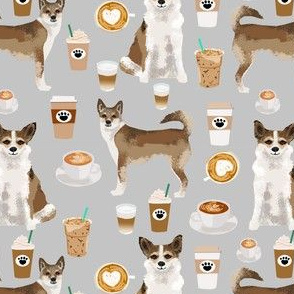 norwegian lundehund coffee fabric dogs and coffees dog fabric - grey