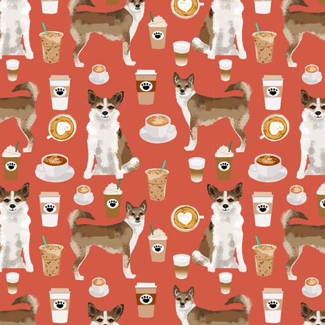 norwegian lundehund coffee fabric dogs and coffees dog fabric - burnt orange fabric by petfriendly on Spoonflower - custom fabric