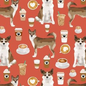 norwegian lundehund coffee fabric dogs and coffees dog fabric - burnt orange