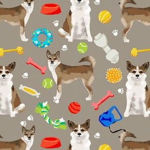 norwegian lundehund and toys fabric dogs and dog toys design - brown