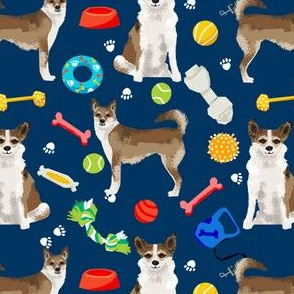 norwegian lundehund and toys fabric dogs and dog toys design - navy