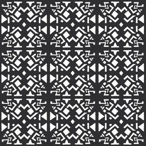 AZTEC ABSTRACT White on Black