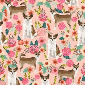 norwegian lundehund florals fabric dogs and flowers design dog breeds fabric - light peach