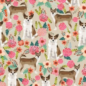 norwegian lundehund florals fabric dogs and flowers design dog breeds fabric - sand