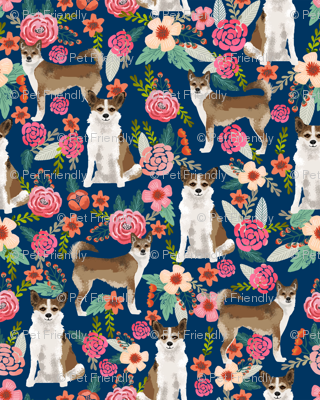 norwegian lundehund florals fabric dogs and flowers design dog breeds fabric - navy