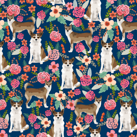 norwegian lundehund florals fabric dogs and flowers design dog breeds fabric - navy fabric by petfriendly on Spoonflower - custom fabric