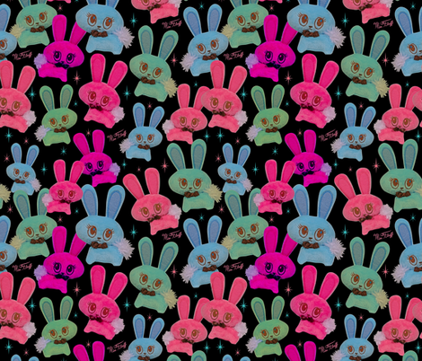 Bunny Toys on Black fabric by miss_fluff on Spoonflower - custom fabric